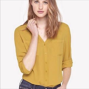 Express Portofino Sheer Mustard Button Down Blouse